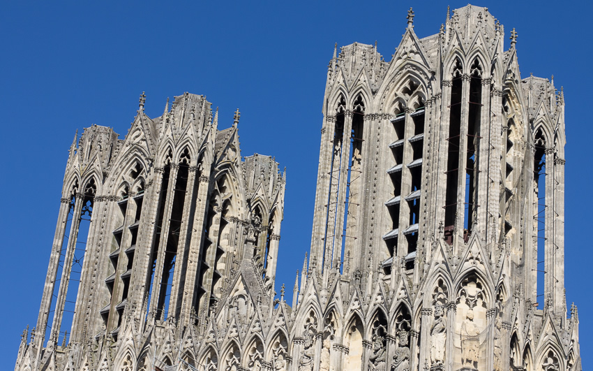 Reims Cathedral Towers - Photo by Asgeir Pedersen, Spots France